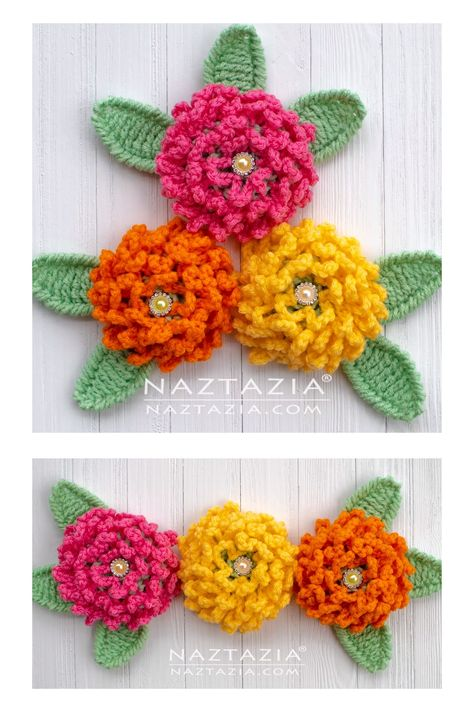How to Crochet a Chain Loop Flower by Naztazia. Cute chrysanthemum for a scarf, shawl, hat, handbag and more. Click the link for the full video and written pattern! #video #crochet #naztazia #flower #crochetflower #freepattern