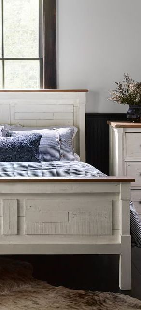 Rustic Reclaimed Wood Bed White Washed Farmhouse Bed Wood Beds Farmhouse Bedding White Bedding