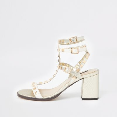 White Studded Gladiator Block Heel