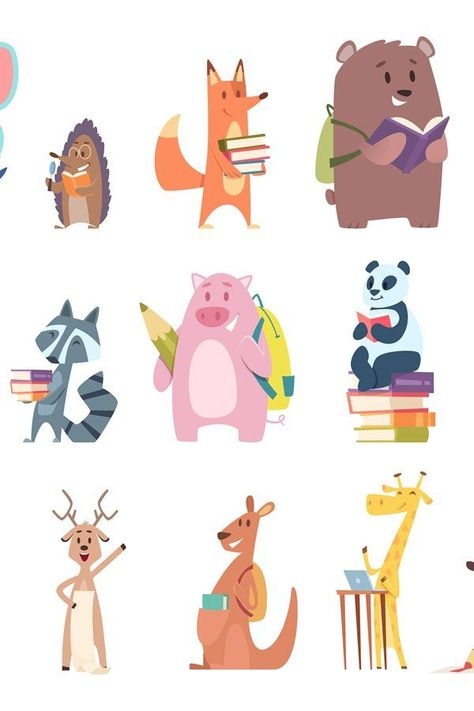 Back to school animals. Young funny zoo characters school it (947093)   Illustrations   Design Bundl