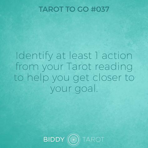 Tarot To Go #37 Identify at least 1 action from your Tarot reading to help you get closer to your goal. #tarot #tarottogo #tarotreadersofinstagram #tarottutorials #intuition #biddytarot #tarotcards #tarotreading #tarotcard #tarotmeanings #tarotcardmeanings #tarotlessons #learntarot