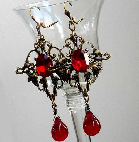 SALE  Earrings in Victorian style of brass ox by MaisonMilli, $39.00