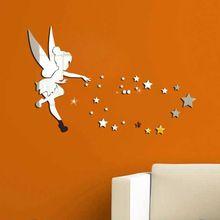 Funlife 70x46 27,5x18 zoll Tinkerbell Fee Prinzessin mit Sternen Brief Wand Aufkleber Cartoon 3D Spiegel Aufkleber Mädchen Raum Wandkunst(China (Mainland))