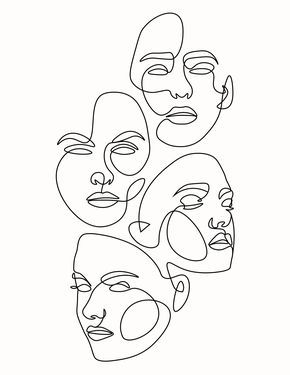 Face Line Drawing, Abstract Face Art, Outline Art, Mini Canvas Art, Art Drawings Sketches, Aesthetic Art, Illustration Art, Indoor Cactus, Cactus Cactus