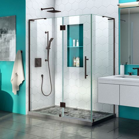 Quatra Plus 34 Inch D X 52 Inch W Frameless Hinged Shower Enclosure In Oil Rubbed Bronze Frameless Shower Doors Frameless Shower Enclosures Frameless Hinged Shower Door