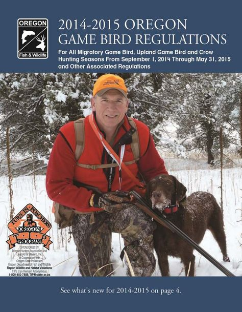 Oregon game bird regulations, by the Oregon Department of Fish and Wildlife