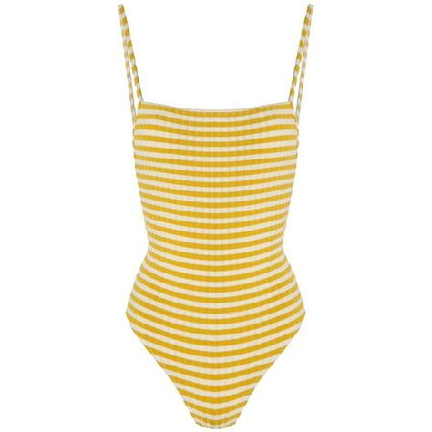 6b099402fc4af Solid and Striped The Chelsea Mustard Stripe Rib ($205) ❤ liked on Polyvore  featuring swimwear, one-piece swimsuits, sexy one piece bathing suits, ...