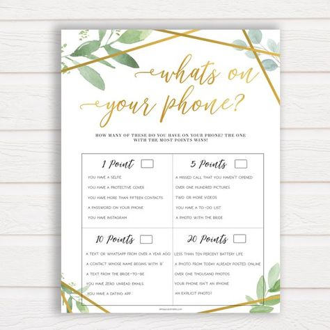 whats on your phone gold greenery bridal shower games bachelorette game funny