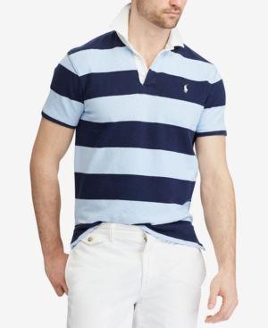 ce0ba499 Polo Ralph Lauren Men's Custom Slim Fit Striped Rugby Shirt - Blue ...