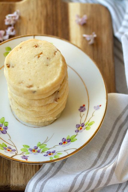 Stack of Lilac Shortbread Cookies