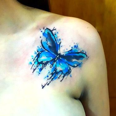 Cute Blue Watercolor Butterfly Tattoo Idea Watercolor Butterfly