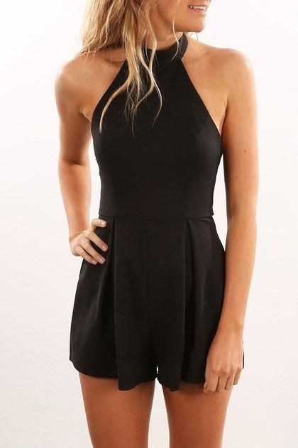Black Lace Sweetheart Cut Out Jumpsuit Casual Spaghetti Strap Playsuit