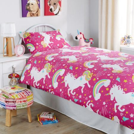 Hot Pink Unicorn And Rainbows Bedding Duvet Cover Set Unicorn Duvet Cover Pink Duvet Cover Quilted Duvet