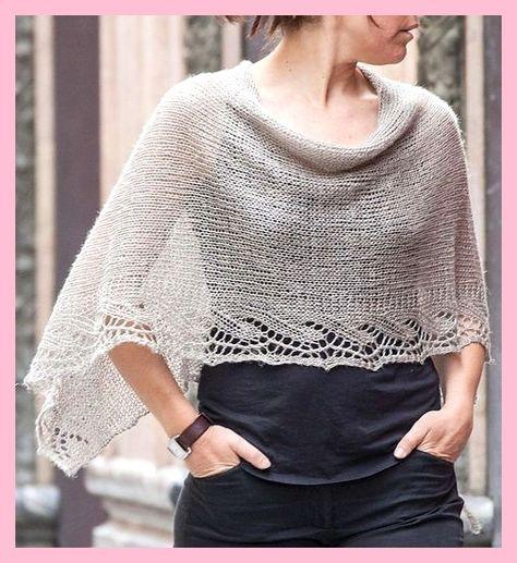Gratis breipatroon voor Emilia Poncho - Deze poncho met kanten randen is gebreid als een re ... ,  #breipatroon #emilia #gratis #kanten #poncho #randen