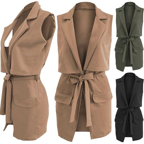 87ed1462498 LADIES DOUBLE LAYERED LONG DUSTER JACKET WOMENS SLEEVELESS WAISTCOAT BELT  BLAZER  Unbranded  OtherJackets  Casual