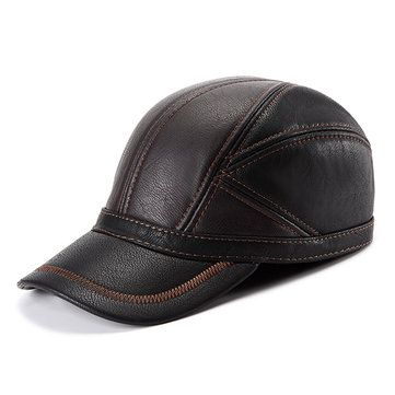 519ac6d69f3578 Men genuine leather baseball cap real cow leather caps hats - Catwalkshop