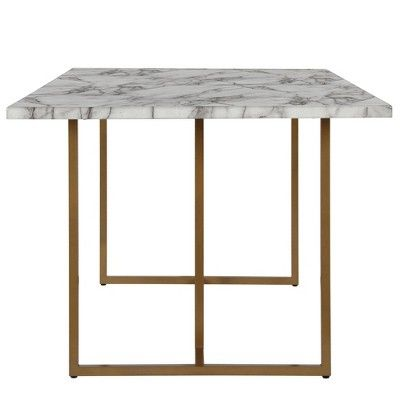 Edith Rectangular Faux Marble Dining Table White Gold Cosmoliving By Cosmopolitan Dining Table Marble Faux Marble Dining Table Marble Dining