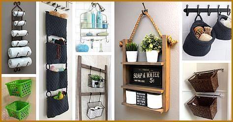 45 Hangende Badezimmer Speicher Ideen Fur Das Maximieren Ihres 45 Hangende Bad Diy Bathroom Storage Kid Bathroom Decor Farmhouse Storage And Organization