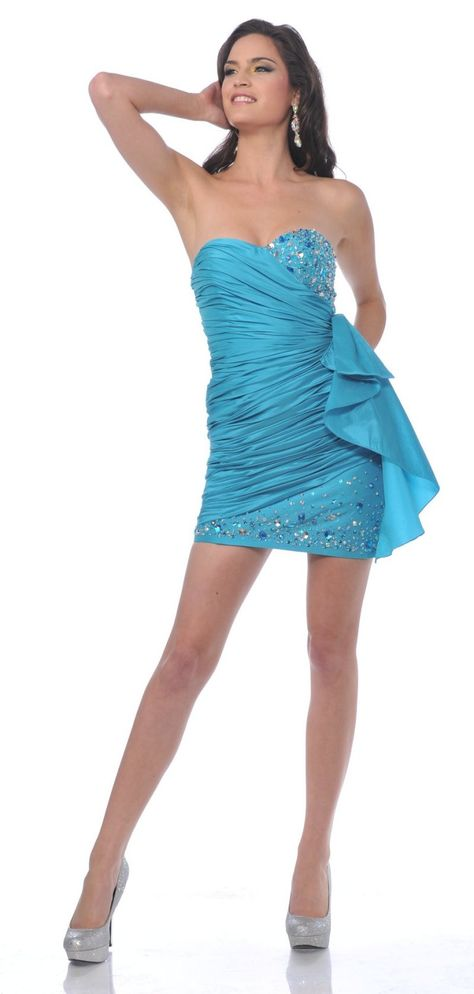 Sexy Ruched Strapless Cocktail Turquoise Short Mini Party Dress $147.99