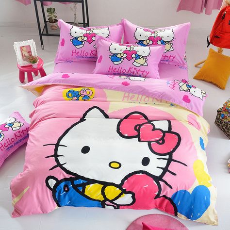 c2a3996b20dc Cartoon 3d Bedding Set Minions Mickey Mouse Hello Kitty Printed for Kids  Cotton Bed Linen 4pcs Duvet Cover Bed Sheet Pillowcases