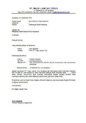 Contoh Surat Pengantar Buka Rekening Bank Surat Surat Pengantar Rekening Bank
