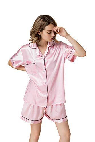 NANJUN Womens Satin Pajamas Sleepwear Long and Short Button-Down Pj Set