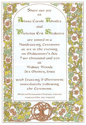 Elegant medieval style scroll wedding invitation on cotton fabric