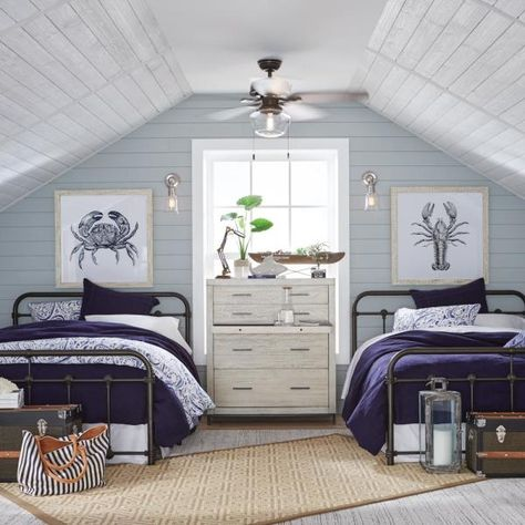 Breezy Beach House Guest – Bedroom – The Home Depot Beach House Bedroom, Beach House Decor, Home Bedroom, Bedroom Furniture, Master Bedroom, Bedroom Ideas, Beach Cottage Bedrooms, Beach House Interiors, Master Suite