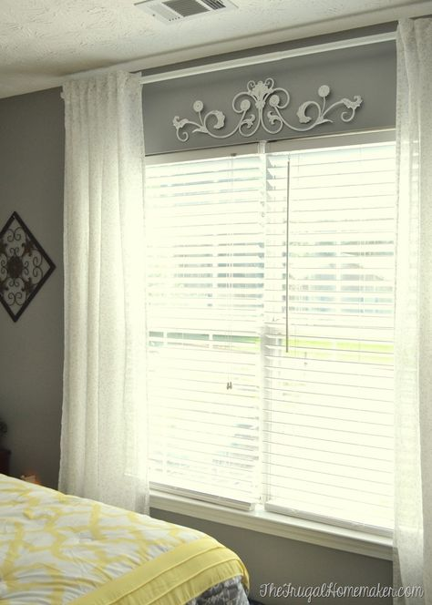 yard sale metal decor piece in guest bedroom spray painted with rustoleum white spray paint curtains for bedroom
