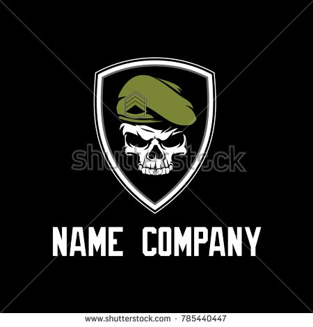 Military Skull Logo With Shield Skull Logo Military Logo Skull
