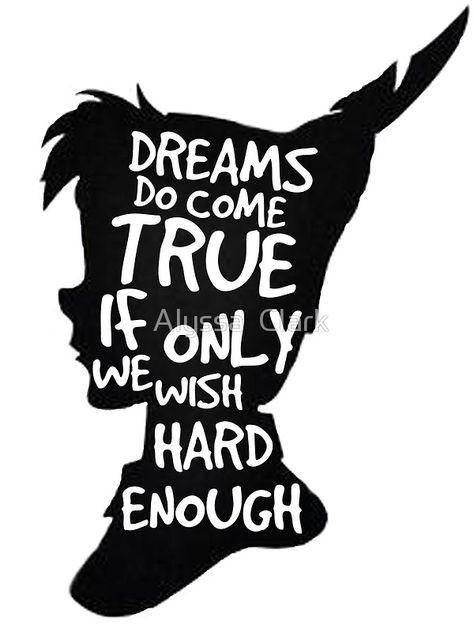 Dreams Peter Pan Quote Silhouette by Alyssa Clark