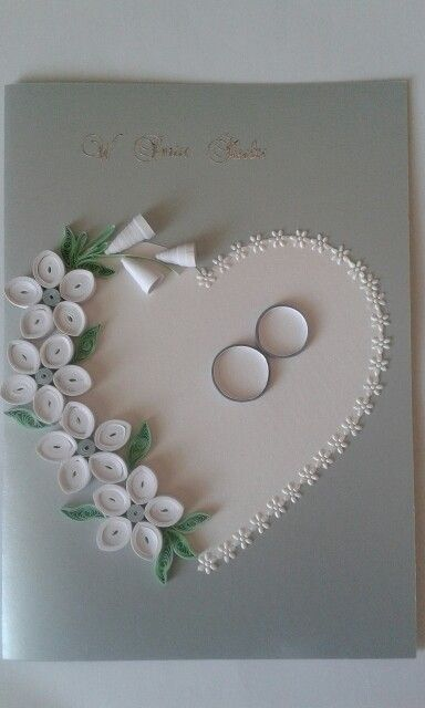 Quilled Greeting Card with roses and heart