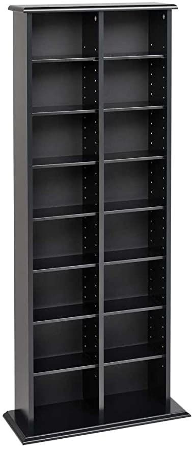 Media Storage Tower Tall Double-Black