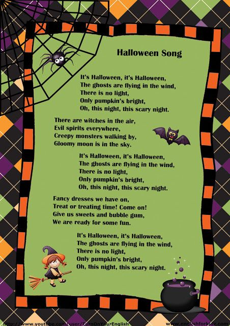 Halloween Song Lyrics For Children Halloween Songs Kids Songs Songs