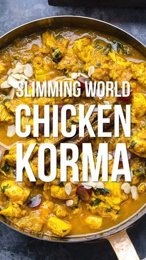 Are you looking for an easy Chicken Curry recipe? This simple Chicken Korma is mild enough for the whole family to enjoy! A delicious SYN FREE Slimming World Chicken Curry that will quickly become a fakeway favourite. #slimmingworld #chicken #curry