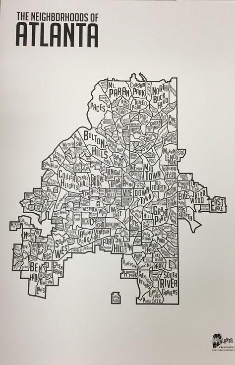 The Neighborhoods of Atlanta Print 24 x 36 by maplanta on Etsy
