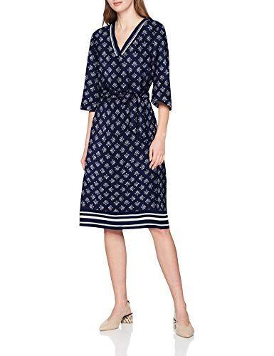 S Oliver Damen 14 903 82 7375 Kleid Blau Dark Blue Floral Print 58c6 Herstellergrosse 38 Kleider Fur Frauen Kleider Damen