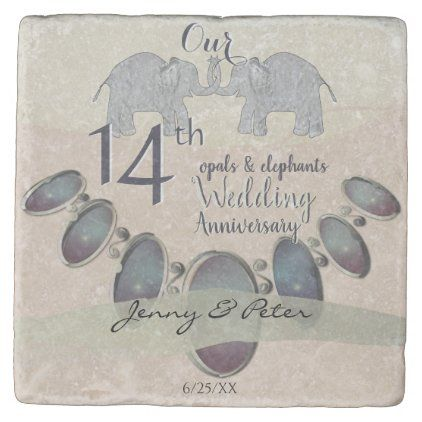 14th Wedding Anniversary Opals And Elephants Stone Coaster Zazzle Com 14th Wedding Anniversary Stone Coasters Wedding Anniversary