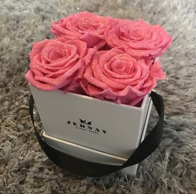 The Four By Jednay Glitter Pink Infinity Roses White Box Rose Pink White Box
