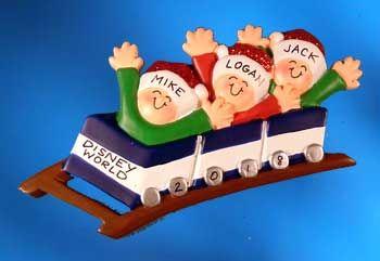 Family Roller Coaster Ornament Family of 4