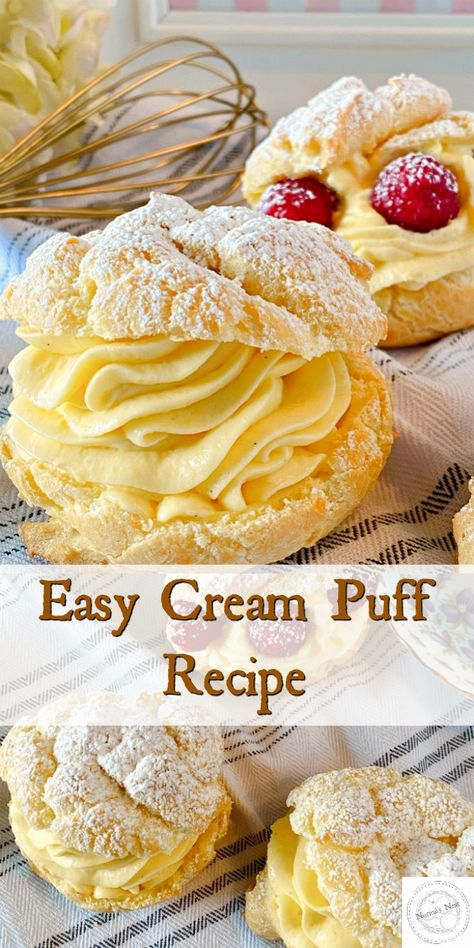 Homemade Cream Puffs are an easy elegant dessert! Golden Crispy Pastry is stuffed with an amazing whipped vanilla cream filling and finished off with powder sugar or chocolate ganache!