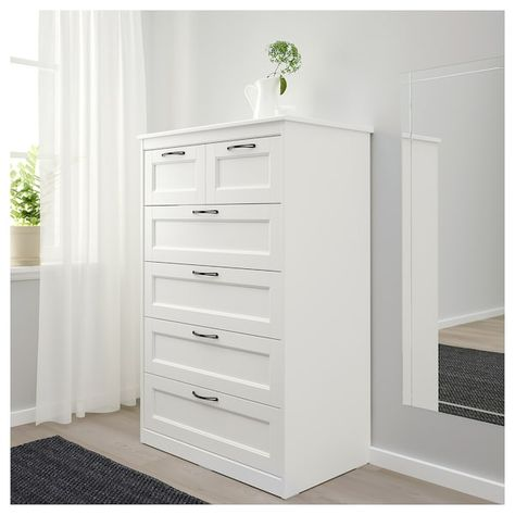 Cassettiera Ikea Hemnes 6 Cassetti.Songesand Cassettiera Con 6 Cassetti Bianco 82x126 Cm Nel 2020