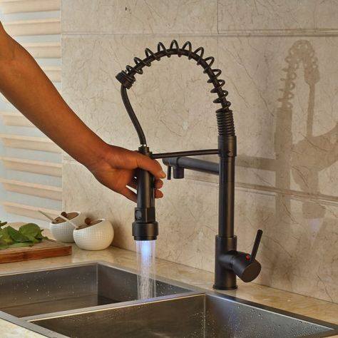 LED  Kitchen Sink Faucet Pull Out Sprayer Swivel Spout With Cover Plate Mixer