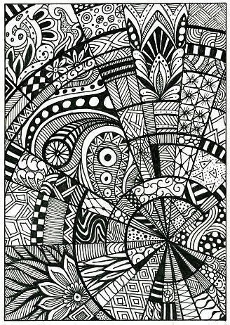 Doodle Pattern Drawing Zentangle Postcard Drawings Mandala