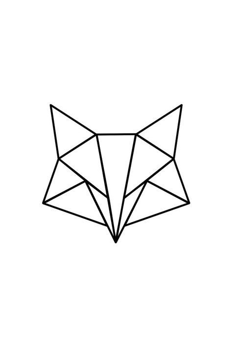 Poster à imprimer blanc Renard minimaliste renard triangle