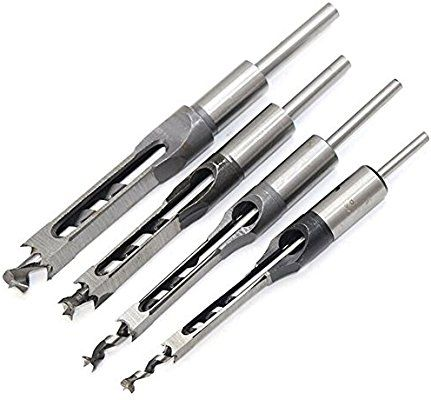 Breynet Woodworker Square Hole Drill Bits Mortising Chisel Set 4pcs Woodworking Hole Saw Mortise C Woodworking Square Woodworking Drill Bits Woodworking Tools