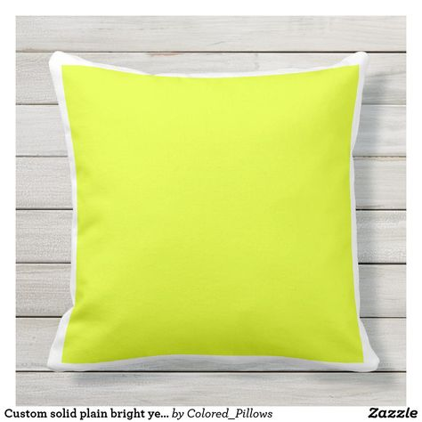 Custom Solid Plain Bright Yellow White Frame Outdoor Pillow