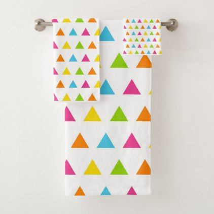 Cute And Colorful Triangles Patterned Bath Towel Set Patterned Extraordinary Patterned Bath Towels