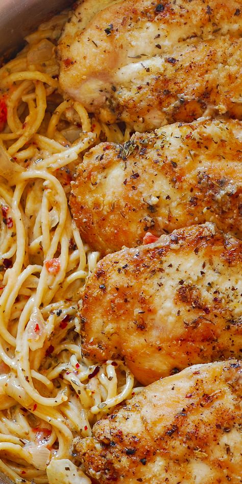 Italian Chicken Pasta, Creamy Chicken Pasta, Italian Chicken Breast, Chicken Parmesan Pasta, Shrimp Pasta, Italian Dishes, Italian Recipes, Italian Wine, Italian Entrees