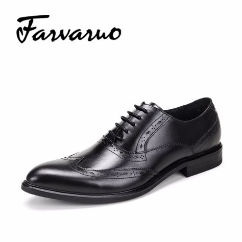 c53f663d4717a8 Men's Genuine Leather Formal Flat Shoes Men Sapato Casual Oxford Homem  Brogues Lace-ups Pointed Toe Man Banquet Shoe Rubber Sole